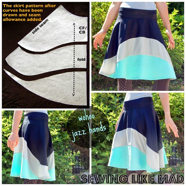 Sewing Like Mad - how to draft a flared skirt, and add color blocking detail