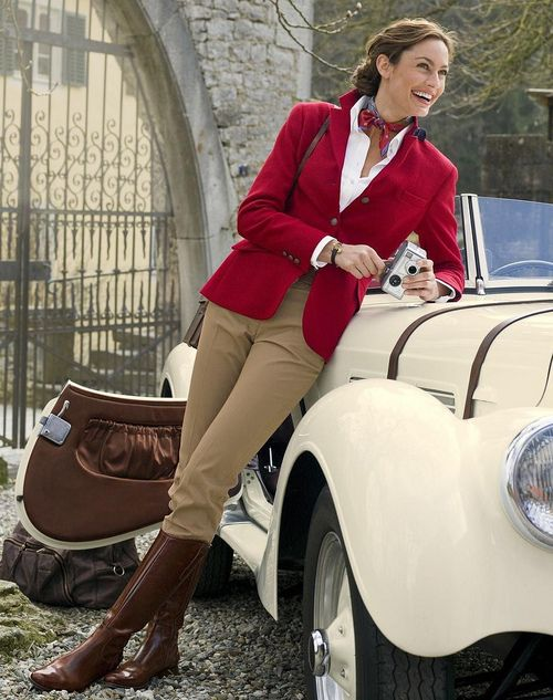 Classic red blazer and tan pants I would like to get you in this outfit. ...and the car too. A real beauty shot all around, composition to color, just great.