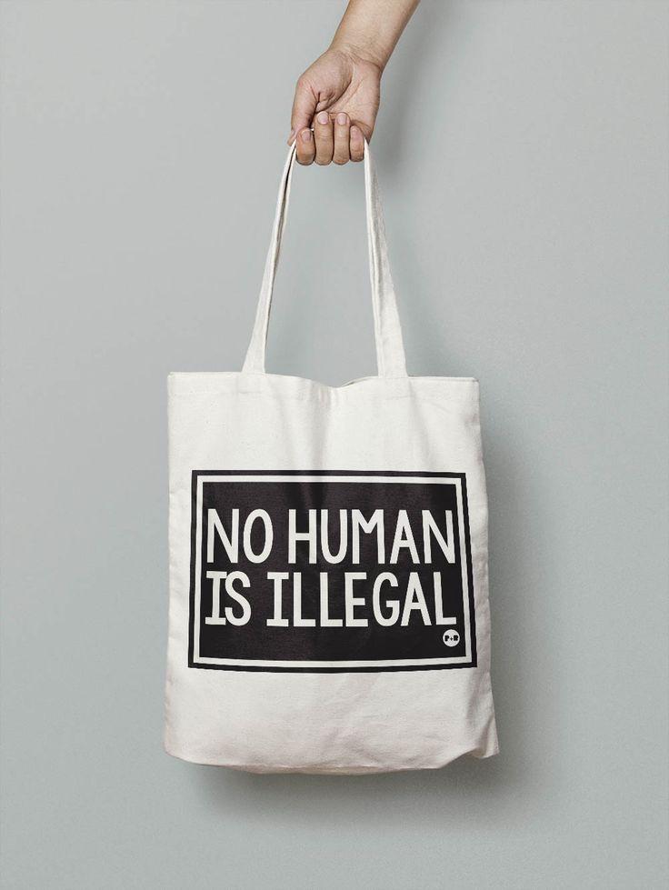 No Human Is Illegal #feminist #activist #resist #totebag #carryall #holdall #shopper #girlpower #tote #giftforher #christmaspresent #equality #pirateandblue
