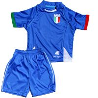 """The kids ITALIA soccer outfit is absolutely adorable and affordable. This outfit includes a number on the back, it includes matching soccer shorts. wear together or separate and is great for soccer practice, family teams, or just plain old fun!. <p class=""""MsoNormal"""">The shorts have the a stitch strips on the side. <span style=""""mso-spacerun: yes""""> ..."""