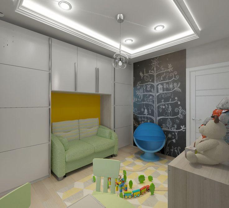 Детская-01. Зелёная детская мебель. Диван под навесными шкафами. Грифельная стена. Белый потолок со светодиодной подсветкой..