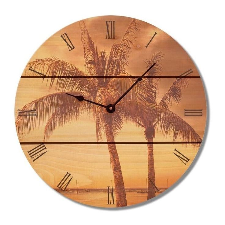 Gizaun Brown Wood Tropic Wall Clock (Vintage Tropic Clock 24)