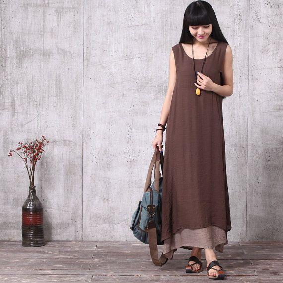 Vestibilità ampia lungo Maxi Dress - abito estivo - Sundress senza maniche per le donne caffè