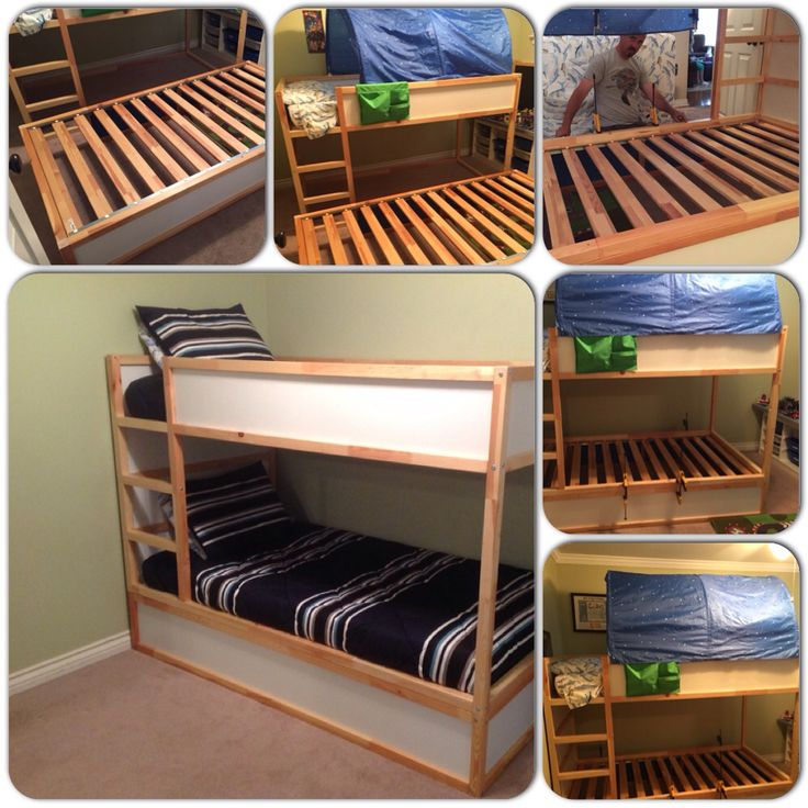 We purchased 2 of the Kura beds off Craigslist, the total for the 2 was $120.00. One of the beds came with the tent and the Star nightlight. We flipped one of them upside down and sawed off all the wood above the bed frame. Then attached the one full bed to the bottom one that was cut. We used Gorilla Glue and Carpenters screws to secure the two beds together. Our kids love their new Bunkbeds and we love the price. We live in California and for one Kura bed its $209.00 at IKEA.