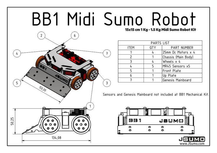 BB1 Midi Sumo Robot Kit (15x15 - 1.5Kg) Sumo Robot Chassis Jsumo   JSumo.com http://www.jsumo.com/bb1-midi-sumo-robot-kit-15x15-15kg-no-electronics #jsumo #sumorobot #robot