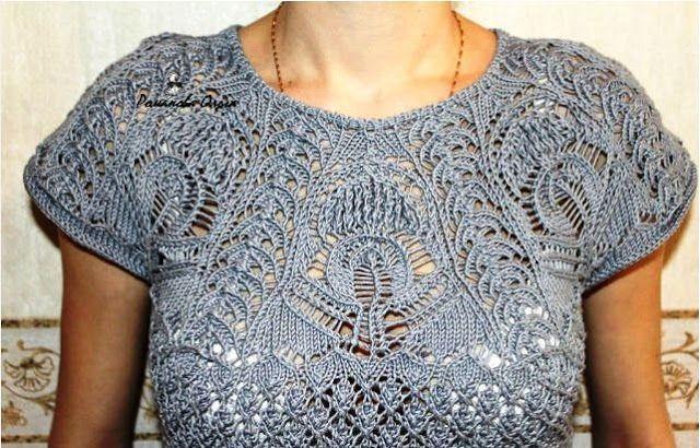 Patrón #1260: Blusa de Encaje a Dos Agujas | CTejidas [Crochet y Dos Agujas]