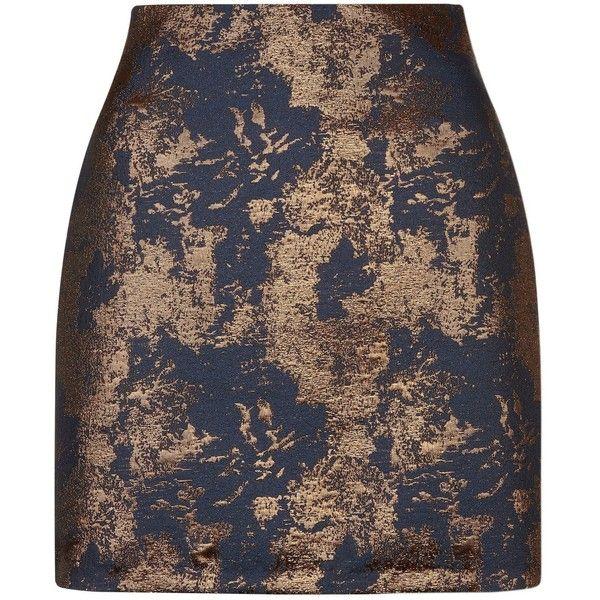 Marineblauer A-Linien-Rock mit Metallic-Webmuster (£26) via Polyvore featuring skirts