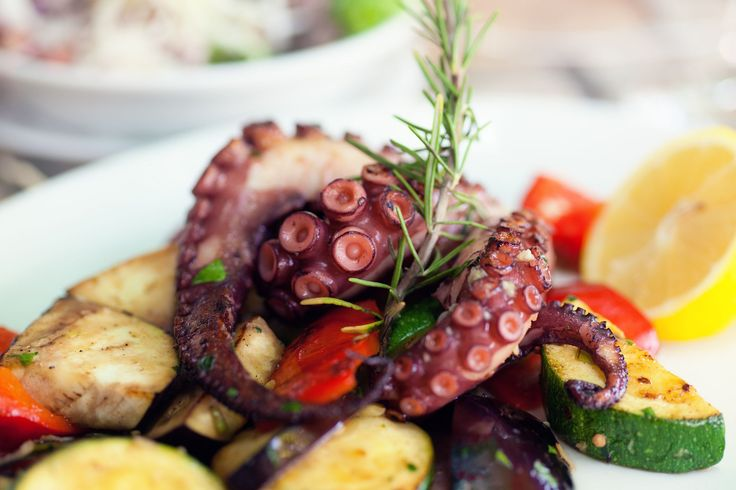 Octopus grilled over an open flame is a Greek classic, and a favorite meze to serve with ouzo and wine.