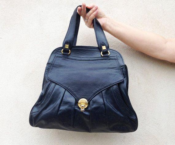 Leather italian handbag / Vintage soft leather envelope clutch purse / top handle navy blue bag / 60s tote shoulder handbag by Skomoroki