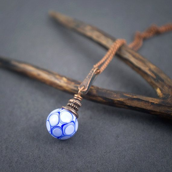Lampwork nacklace • copper necklace • hand forged • chain • artisan glass bead • blue and white dotted bead • lampwork pendant • bohemian