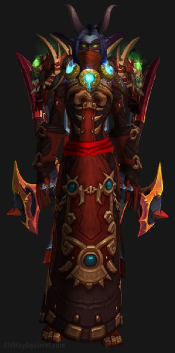 Vengeance Demon Hunter Aldrachi Warblades Transmog Set - Dreadlord's Bite Skin with Red Tint WoW Legion. Night Elf Female