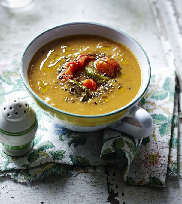 Lots of supermarkets now stock bags of roasted frozen veg which you could use to make this healthy recipe super speedy