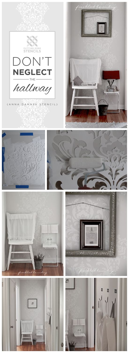 199 best damask wall stencils decor images on pinterest damask stenciling a hallway with the anna damask stencil from cutting edge stencils happy monday my diy lovelies it is makeover monday here at cutting edge amipublicfo Gallery