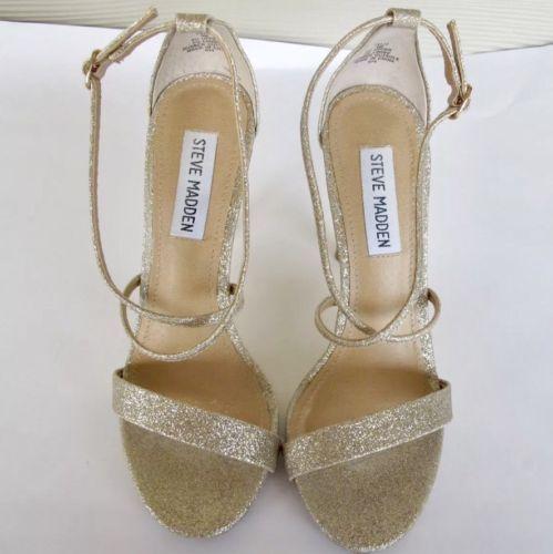 Steve Madden Feliz Gold Glitter Sparkly High Heels Size 6.5 Stilettos Womens