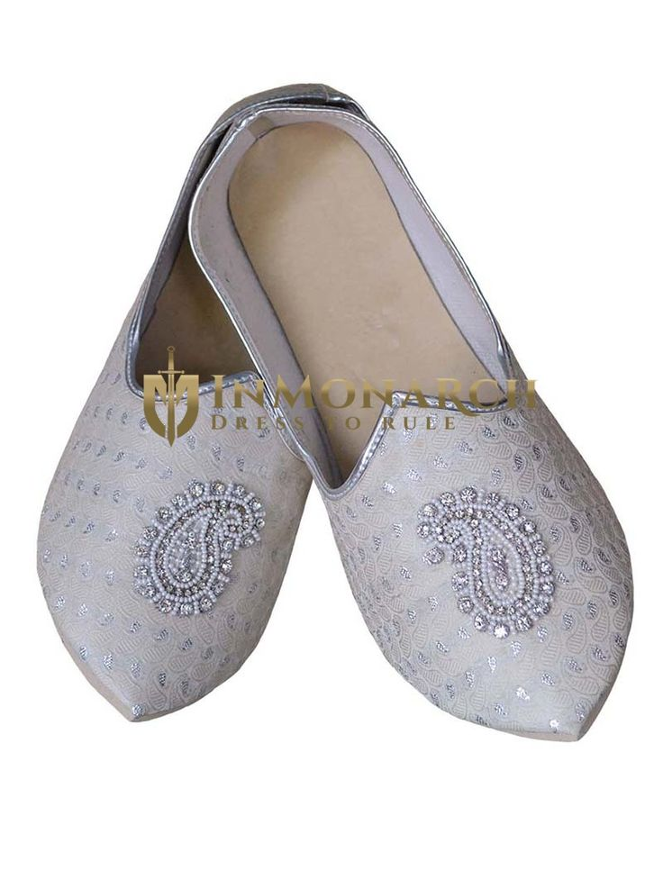 Mens Cream Brocade Wedding Shoes Paisley MJ0066