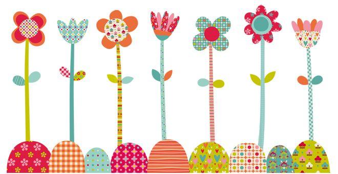 Vinilo infantil flores pop