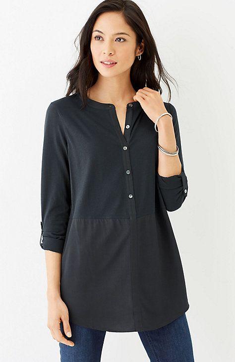 mixed-media tab-sleeve tunic