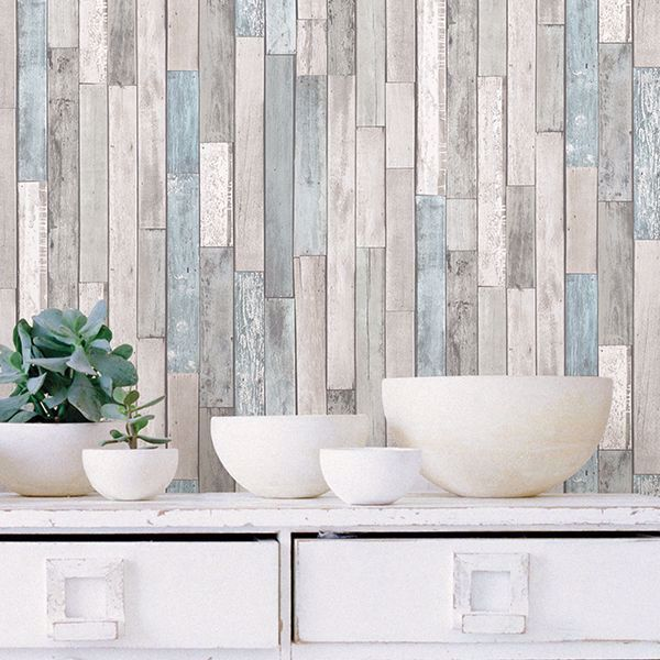 Transform Your Space Into A Coastal Cottage With This Wood Inspired Design The Interplay Of Gre Peel And Stick Wallpaper Wood Feature Wall Red Brick Wallpaper
