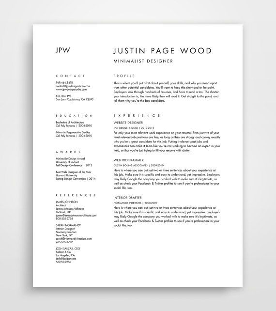 39 best Cv images on Pinterest Resume templates, Resume design - simple resume letter