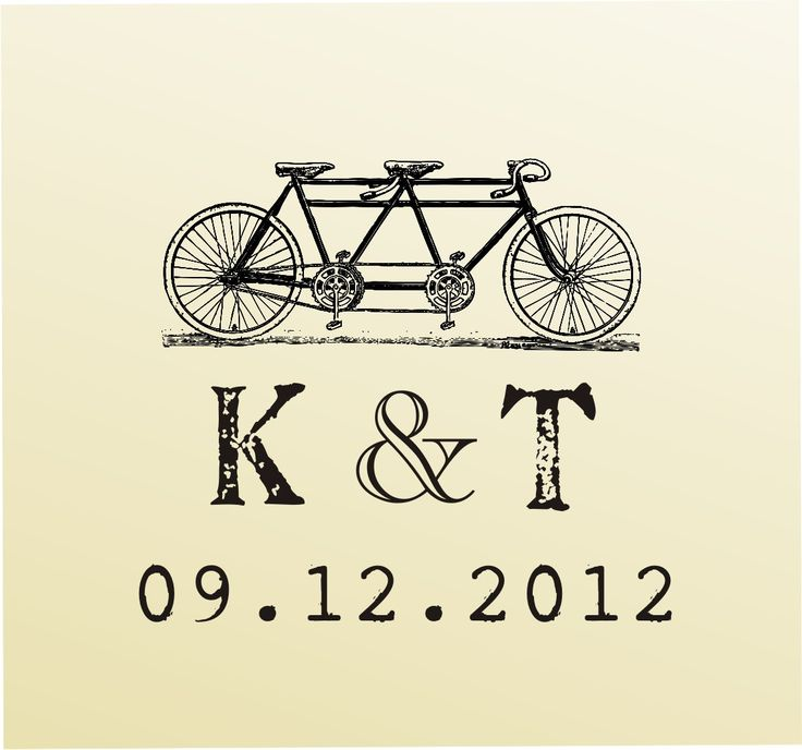 Vintage MONOGRAM Bike design typewriter font rubber stamp clear block mounted -style 6028MONOGRAM - custom wedding stationary.