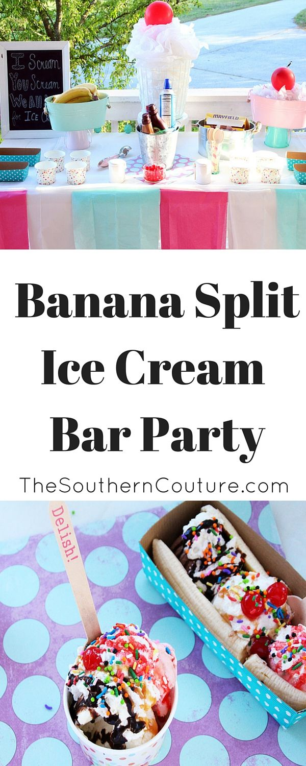 Cool off this summer or any time of year with this ADORABLE and EASY to set up Banana Split Ice Cream Bar Party. The decorations are easy to make and also budget-friendly. Plus there is always a good excuse to eat ICE CREAM!