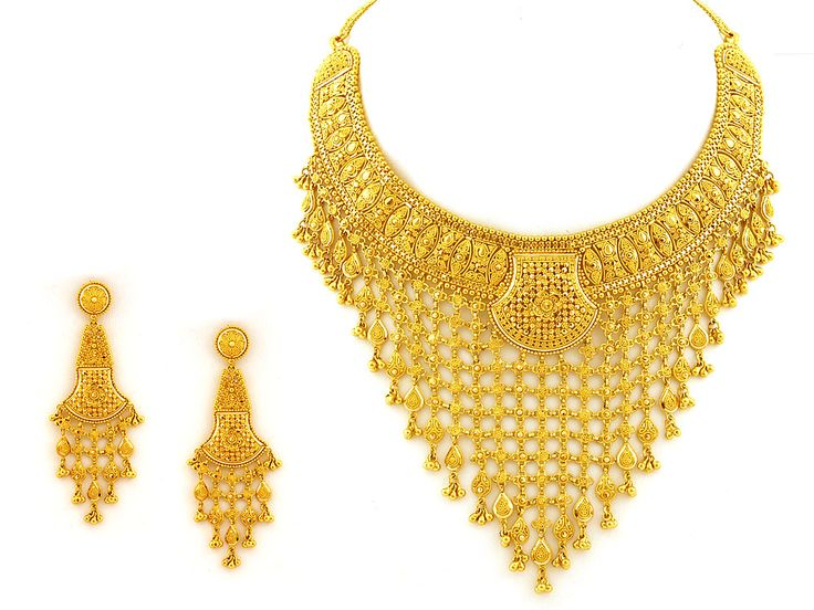 22Kt Indian Gold Jewellery   Indian Jewelry - 105.9g Heavy 22kt Gold Necklace Set 118