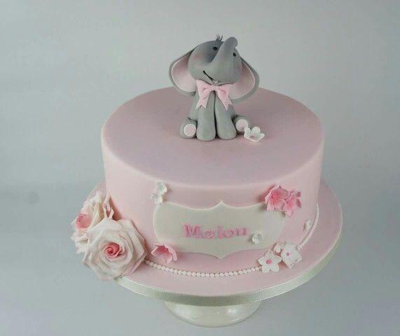Elefant dåbskage Elephant pink baptism cake