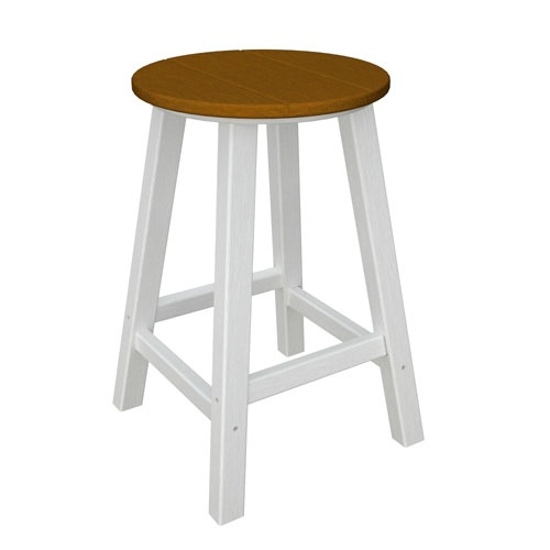 Contempo White And Teak Round Counter Height Bar Stool Polywood Bar Stools Patio Chairs Ou