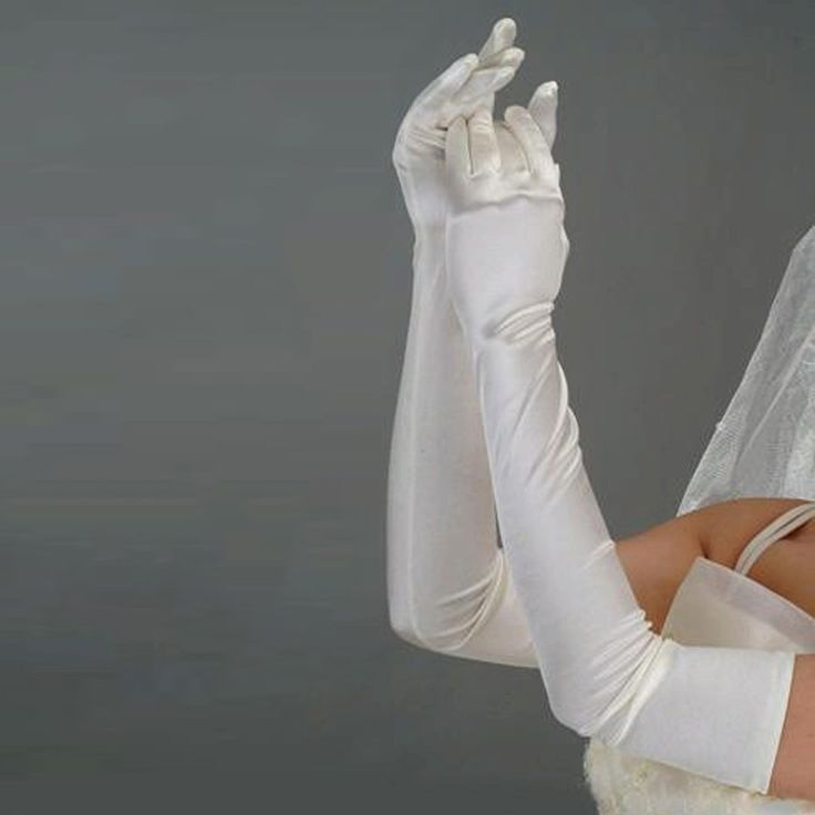 Stocks white/begie Satin Long Wedding Gloves Bridal Gloves women Hot Sale Top Quality