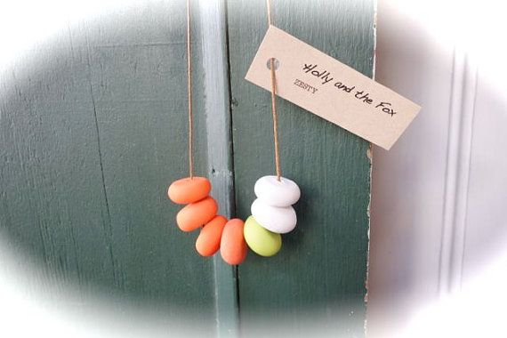 ZESTY Clay Bead Necklace by hollyandthefox on Etsy