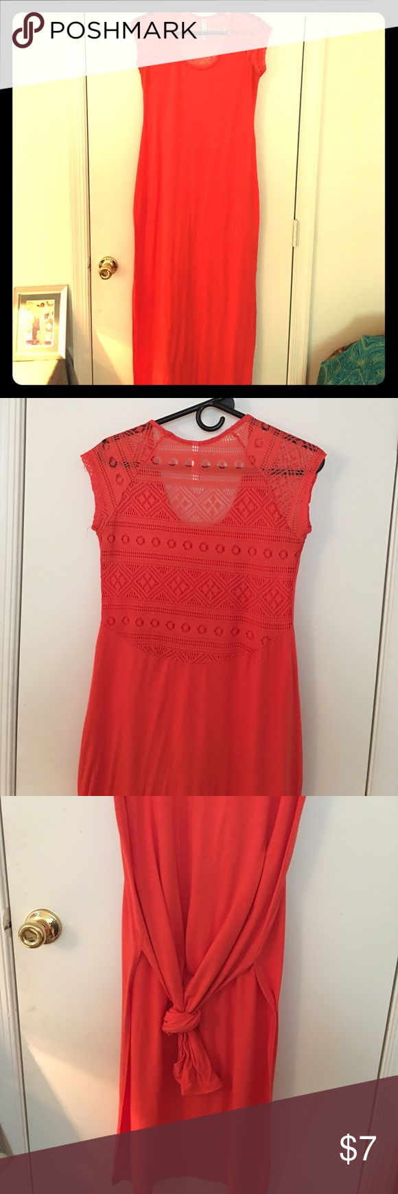 Salmon colored dress (ALSO IN COLOR BLACK) Salmon Colored long dress with slits on both sides and laced back! Dresses Maxi