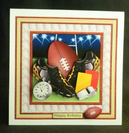 Rugby Equipment 8x8 Decoupage Mini Kit with Ages | Craftsuprint