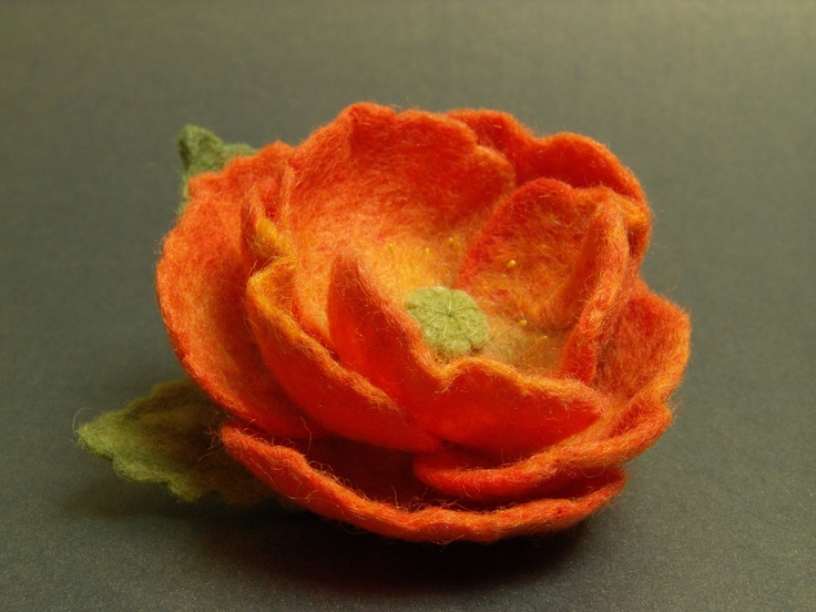 Felt Flower Brooch - Needle Felted Brooch.
