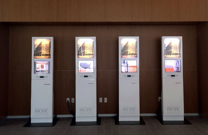 Information iKiosks integrated with the University of the Pacific database system to provide wayfinding, name badge printing and to check-in patients at the dental facility. #checkinkiosks #computerkiosk #interactivekiosks #touchscreen  http://www.advancedkiosks.com/i-kiosk.php