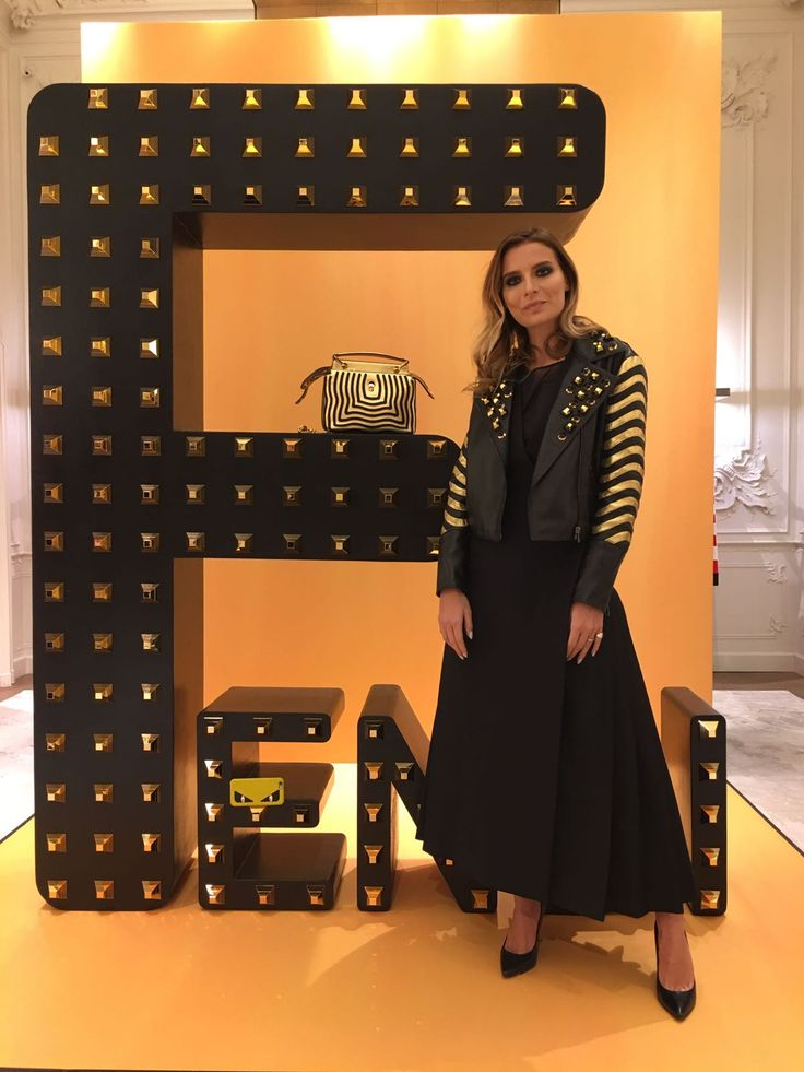 Veronica Ferraro at the Fendi Gold cocktail party in Milan.
