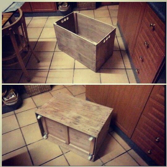 DIY toy box wood hidden wheels
