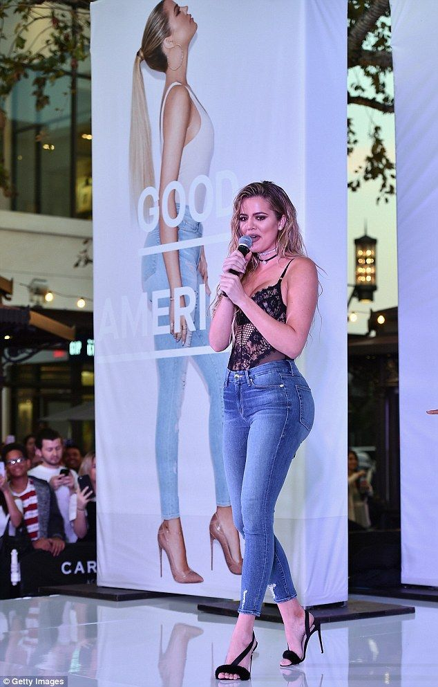 On the prowl: Khloe also hit the stage at The Grove to show off her new jeans as she is part of their advert campaign