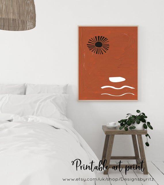 Terracota Wall Print Boho Wall Art Evil Eye Art Print Moon Celestial Art Print Printable Modern Art Mid Century Downloadable Art Print Scandinavian Interior In 2019 Orange Wall Art Orange Walls