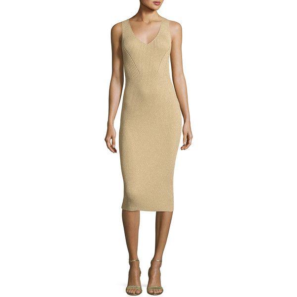Michael Michael Kors Sleeveless Ribbed Metallic Sweater Dress (£115) ❤ liked on Polyvore featuring dresses, khaki, below-the-knee dresses, rib dress, sleeveless sweater dress, v-neck dresses and sheath dress