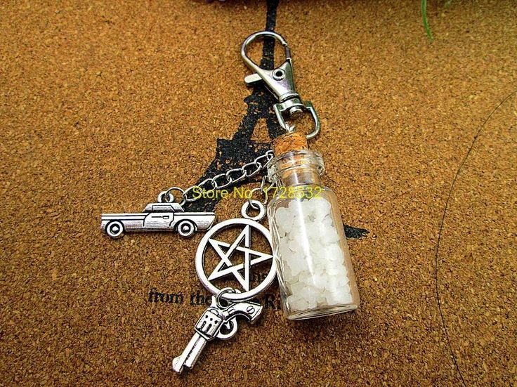 Supernatural Angel Wing Pentagram And Salt Bottle Key Chain (Free Shipping)
