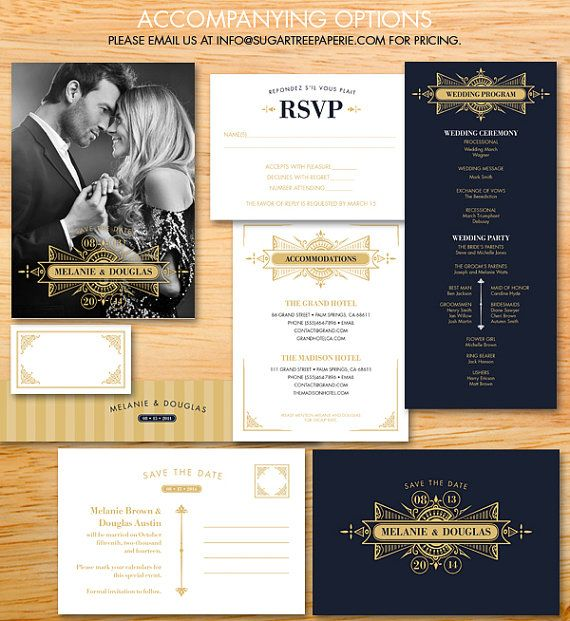 Save the date cards from the gatsby collection beautiful for Art deco era dates
