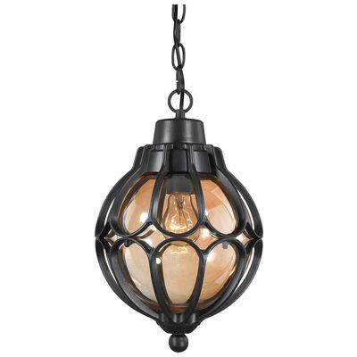 ELK Lighting Madagascar 1 Light Outdoor Pendant In Matte Black 87023/1