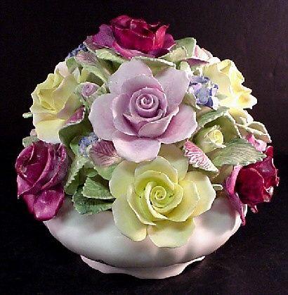 coalport china | Coalport Large Vintagae Basket Bouquet Vase Flowers Bone China England ...