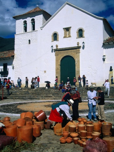 Market on Plaza Mayor with Parish Church in Background, Villa De Leyva, Boyaca, Colombia
