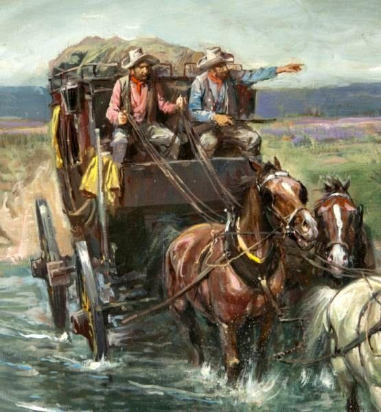 Stagecoach Crossing by Lajos Markos.