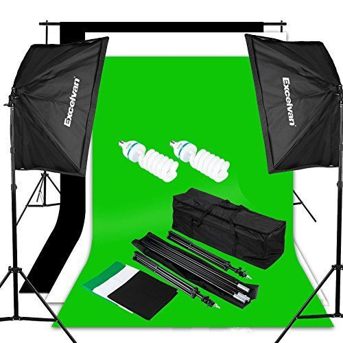 Excelvan Photo Video Studio Lighting Kit (1250W Soft Box) W / 3 Background Backdrop (White Black Green) 10 x 6.5 ft Photography Light Stand and Portable Bag - http://allcamerasportal.com/excelvan-photo-video-studio-lighting-kit-1250w-soft-box-w-3-background-backdrop-white-black-green-10-x-6-5-ft-photography-light-stand-portable-bag/