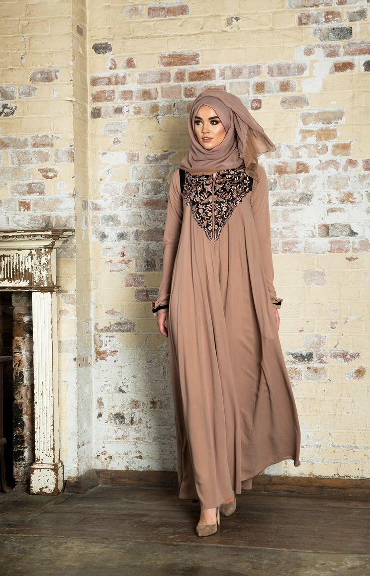 #Exquisite intricate embroidered detailed on the back & front of the Abaya, embellished on a soft cotton crepe with lots of volume. An elegant piece fit for special occasions, pair with Desert Sunset Hijab.