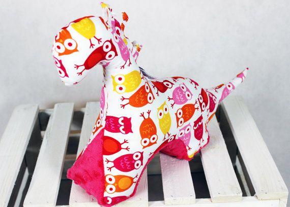 Sensory Toy Dinosaur Olws Fuchsia Mascot Newborn Gift by NuvaArt