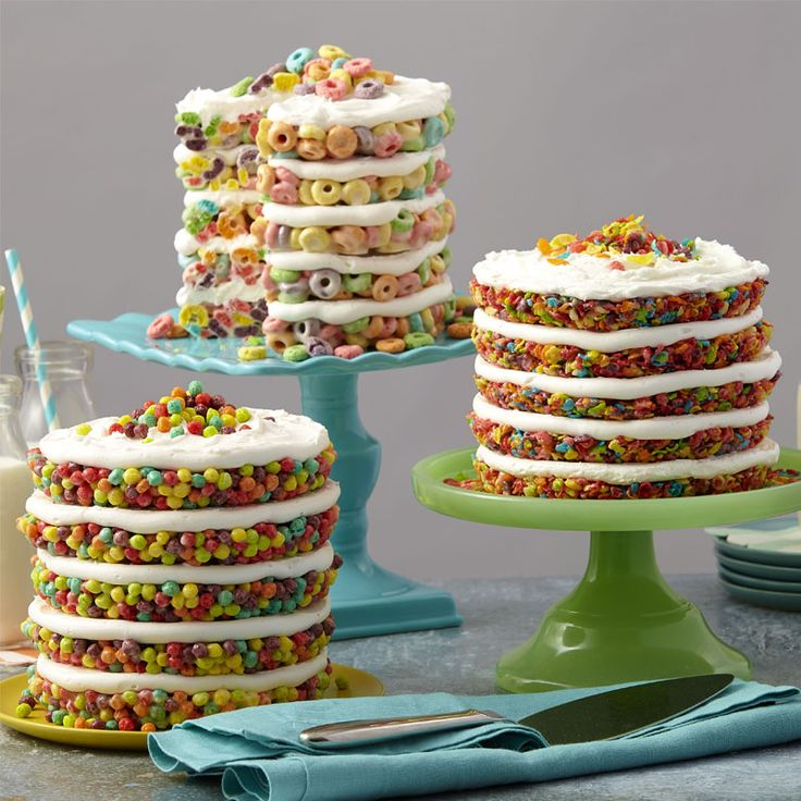Fruit Cereal Treat Cake - how to make rice crispy treats into cake with fruity cereal like fruit loops trix of fruity pebbles - no bake cake ideas