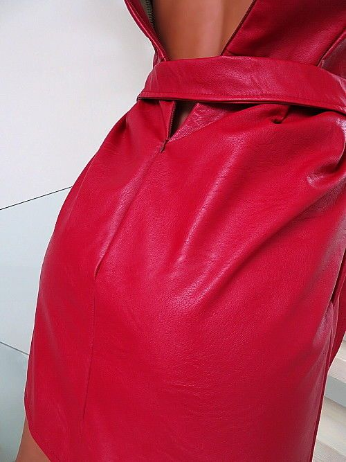 DAMEN KLEID LEDER OPTIK ROT MADE IN ITALY U12 TOP LEATHER LOOK SEXY RED DRESS S